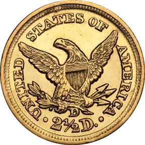 1852 D $2.5 MS reverse