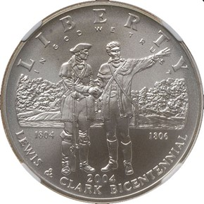 2004 P LEWIS & CLARK S$1 MS obverse