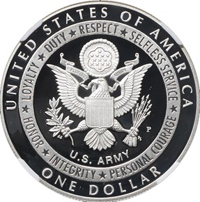 2011 P U.S. ARMY S$1 PF reverse
