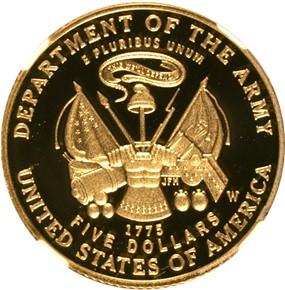 2011 W U.S. ARMY $5 PF reverse