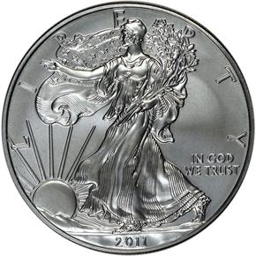 2011 W EAGLE 25TH ANNIVERSARY SET S$1 MS obverse