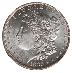 1882 O S$1 MS obverse