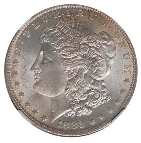 1882 O/S S$1 MS obverse
