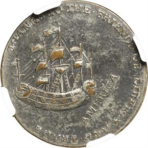 1766 WILLIAM PITT SILVERED 1/2P MS reverse