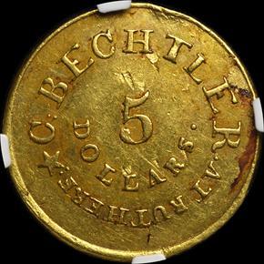 (1837-42) C.BECHTLER 128G, 22C, RUTHERF $5 MS reverse