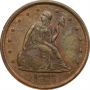 1875 J-1414 20C PF obverse