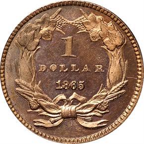 1865 J-438 G$1 PF reverse