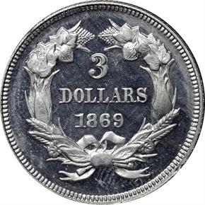 1869 J-773 $3 PF reverse