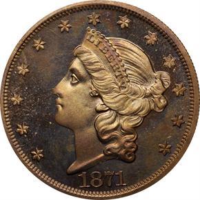 1871 J-1176 $20 PF obverse