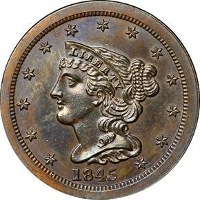 1845 ORIGINAL 1/2C PF obverse