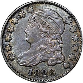 1828 LARGE DATE JR-2 10C MS obverse