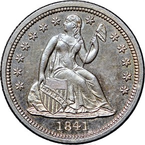 1841 NO DRAPERY 10C PF obverse