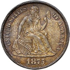 1875 CC ABOVE BOW 10C MS obverse