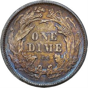 1875 CC ABOVE BOW 10C MS reverse