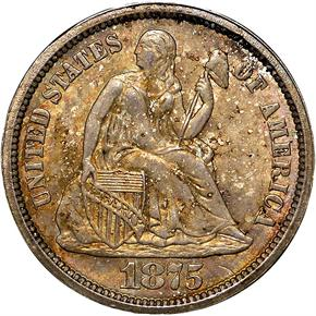 1875 S ABOVE BOW 10C MS obverse