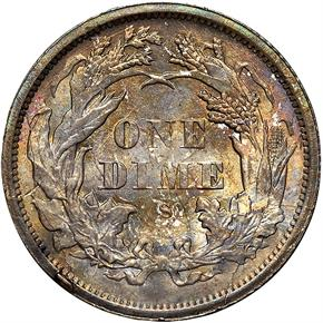 1875 S ABOVE BOW 10C MS reverse