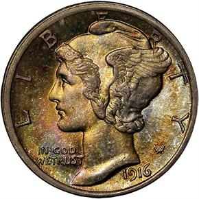 1916 MERCURY 10C MS obverse