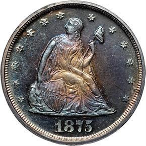 1875 20C PF obverse