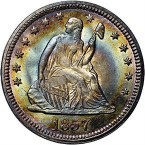 1857 25C MS obverse
