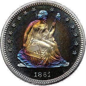 1861 25C PF obverse