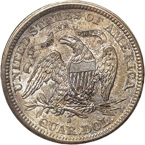 1866 S MOTTO 25C MS reverse