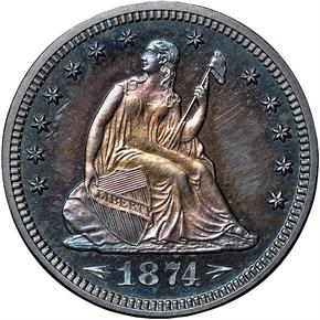 1874 ARROWS 25C PF obverse