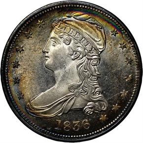1836 REEDED GR-1 50C MS obverse