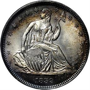 1839 NO DRAPERY 50C MS obverse