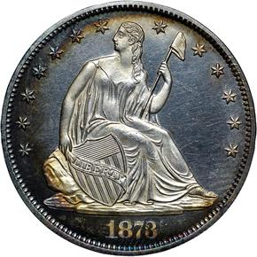 1873 CL 3 NO ARROWS 50C PF obverse