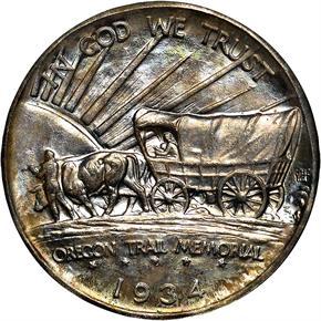 1934 D OREGON 50C MS reverse