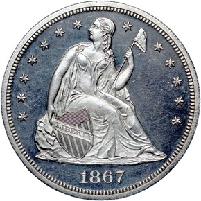 1867 S$1 PF obverse