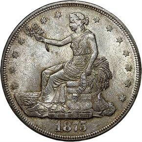 1875 T$1 MS obverse