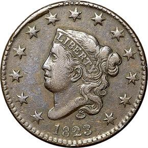 1823 N-2 1C MS obverse