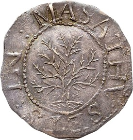 1652'IN'LEFT OAK TREE MASSACHUSETTS 1S MS obverse