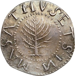 1652 'N' REV PINE TREE MASSACHUSETTS 1S MS obverse