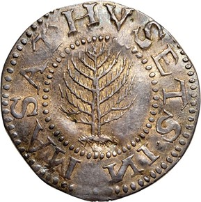 1652 'NE'MON PINE TREE MASSACHUSETTS 1S MS obverse