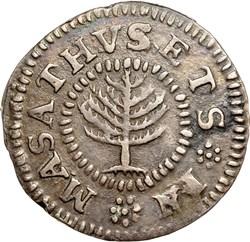 1652 SMALL PINE TREE MASSACHUSETTS 1S MS obverse