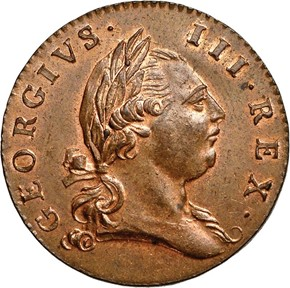1773 WITH PERIOD VIRGINIA 1/2P MS obverse
