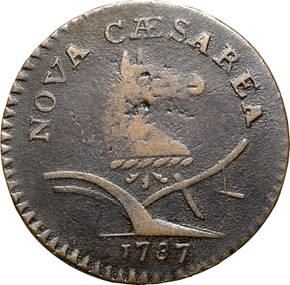 1787 'PLURIBS' NEW JERSEY MS obverse
