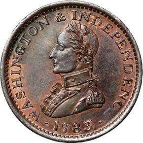 1783 LARGE BUST WASHINGTON & INDEPENDENCE MS obverse