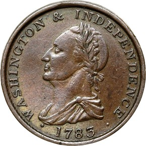 1783 BUTTON, DRAPE BUST WASHINGTON & INDEPENDENCE MS obverse