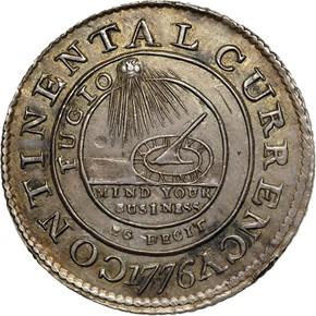 1776 SILVER 'EG FECIT' CONTINENTAL S$1 MS obverse