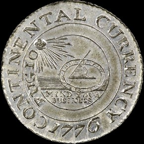 1776 PEWTER 'CURRENCY' CONTINENTAL S$1 MS obverse