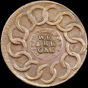 1787 R.ENDS C.R. FUGIO 'UNITED STATES' 1C MS reverse