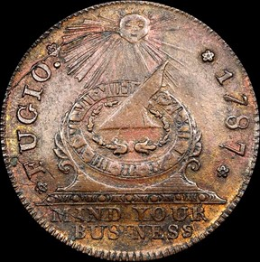 1787 COPPER FUGIO NEW HAVEN RESTRIKE 1C MS obverse