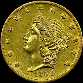 1854 KELLOGG & CO. $20 MS obverse