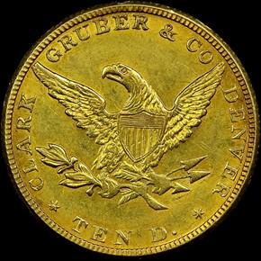 1861 CLARK, GRUBER & CO. $10 MS reverse