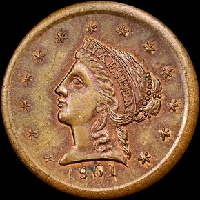 1861 COPPER CLARK, GRUBER & CO. K-9 $2.5 MS obverse