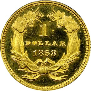 1858 G$1 PF reverse