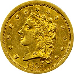 1838 $2.5 MS obverse